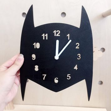 Home Furnishing bat man Silence clock wall decoration clock for kids room boy room wall decor