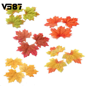 Artidicial Cloth Maple Leaves 100Pcs Multicolor Autumn Fall Leaf For Art Scrapbooking Wedding Bedroom Wall Party Decor Craft