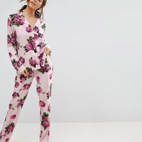 ASOS Romantic Rose Traditional Shirt & Trouser Pyjama Set at asos.com