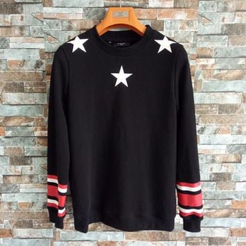 """""""Givenchy"""" Unisex Fashion Multicolor Stripe Five-pointed Star Print Long Sleeve Cotton Sweater Couple Casual Loose Pullover Tops"""