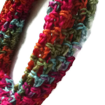 Autumn Rainbow Infinity Scarf - Trendy Cowl - Multicolored Lacy - Size Medium - Item 3002