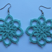 Aqua green tatted earrings, 8 petals flowers tatted lace earrings, flower tatting earrings, flower with button  tatting earrings,