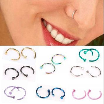 ac PEAPO2Q 1Piece New Fashion Anodized Stainless Steel Body Jewelry Gold Silver Black Fake Nose Piercing Nose Rings And Studs For Women
