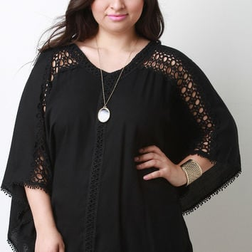 Crochet V-Neck Poncho Top