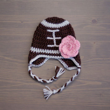 Crochet Football Hat with Flower, Crochet Baby Hat, Crocheted Baby Hat, Newborn Photo Prop, Football Baby Hat, Crocheted Football Hat