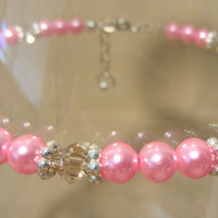 PLUS SIZE - Hot Pink Pearls & Citron Crystal Anklet w/ Silver Accents, Handmade Original Fashion Jewelry, Feminine Spring Colors Ladies Gift