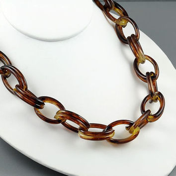Vintage Necklace Plastic Large Chain Link Faux Tortoise Shell Brown