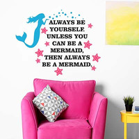 Mermaid Wall Decal - by Decor Designs Decals, Always Be a Mermaid, Mermaid Wall Decal Aquarium Bubbles Decal Mermaid Decal Girls Ocean Decal Deep Sea Wall Decal Little Mermaid Decal Mermaid Wall Art Sticker EE28