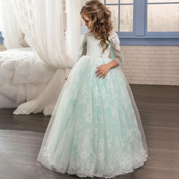 Custom Made Flower Girl Dresses Formal Appliques O-neck Long Sleeves Ball Gown Sheer Lace First Communion Gown Pageant Dresses