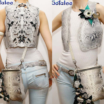 Womens vest-bolero of genuine leather python snakeskin leather with hand painted a flower brooch, short sleeveless-vest by Sofalee.In stock!
