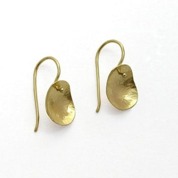 14k Gold Dangle Leaf Earrings - Solid Gold Jewelry