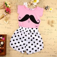 Toddler Baby Kids Infant Girls Cute Mustache T-shirt Black Dot Shorts Outfits Clothes