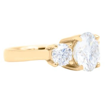 9.0mm Round Moissanite 14K Yellow Gold Classic 3 Stone Engagement Ring 3.75 Carat Total Weight