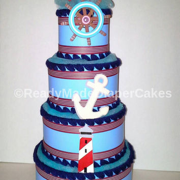 Nautical Baby Shower 4 Tier Ducky Themed Diaper Cake Navy Blue Red White Table Centerpiece Decor Unique Baby Boy Shower Sprinkle Gift
