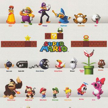 Super Mario Video Game Characters Poster 22x34