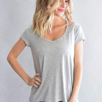 Open Shoulder Gray Top