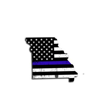 Missouri Distressed Subdued US Flag Thin Blue Line/Thin Red Line/Thin Green Line Sticker. Support Police/Firefighters/Military