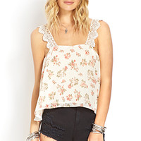 FOREVER 21 Dainty Floral Top Cream/Coral Large