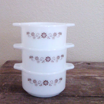 Vintage Dynaware Bowls, Dynaware Pyr-O-Rey Double Handle White Bowls, Brown Flowers