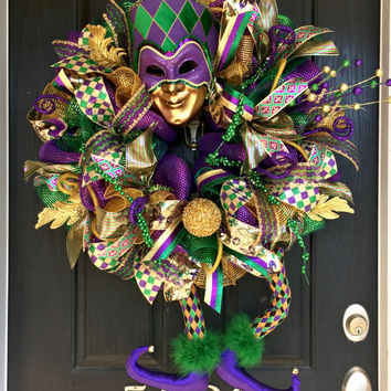 Mardi Gras deco mesh wreath, Mardi Gras mesh wreath, Mardi Gras decor, Mardi Gras wreath, Mardi Gras decoration, jester head and legs