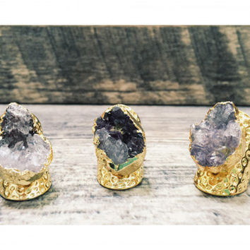 Purple Amethyst Ring - Raw Gemstone Ring - Rough Stone Ring - Electroformed Ring - Statement Jewelry - Druzy Ring - 24k Gold Ring for Women