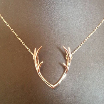 Antler Necklace - Fashion Necklace - 18K Gold Plated Antler Necklace - Design Necklace - Dainty Necklace -Thin Necklace - Silver Necklace