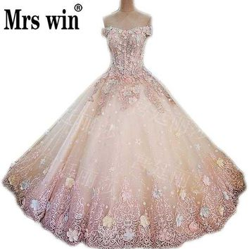 Real Pictures Ball Gown Candy Color Bridal Dress Vintage Muslim Plus Size Lace Flower Tulle Princess Wedding Dress 2017 CustomC