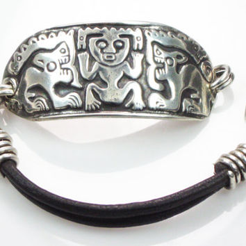 Mayan Tribal Sterling Silver and Leather Cord Bracelet