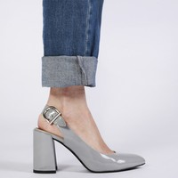 Lydia Slingback High Heels in Grey Patent