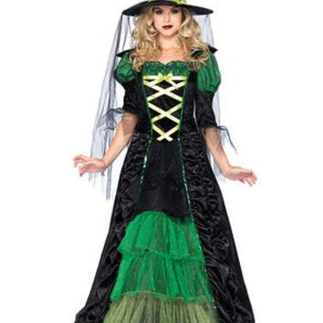 ESBI7E 2PC.Storybook Witch,dress with tiered glitter tulle,hat w/veil in BLACK/GREEN