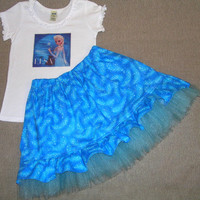 Frozen Elsa outfit - girls back to school outfit  - blue ruffle tulle - ready to ship - Elsa skirt - Elsa shirt - OOAK - girly - size 4-5
