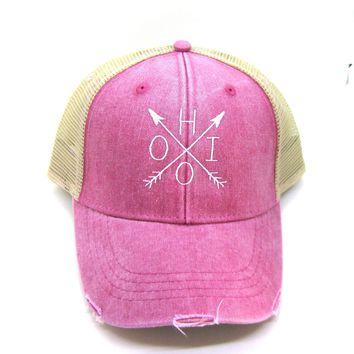 Ohio Trucker Hat - Red Distressed Snapback - Ohio Arrow Compass