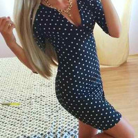 Dark Green Polka Dot V-Neck Short Sleeve Dress