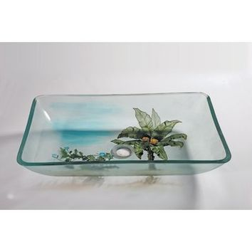 Legion Furniture ZA-133 Tempered Glass Sink Bowl With Coconut Tree
