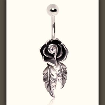 Cutie Rose with Dangling Leaves Belly Button Ring