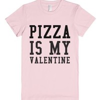 Pizza Is My Valentine-Female Light Pink T-Shirt