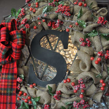 Christmas Wreath, Holiday Wreath, Burlap, Berries, Monogramed, Personalized, Plaid bow, Rustic