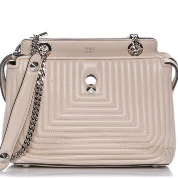 Fendi Dotcom Click Beige Caramel Small Quilted Lambskin Leather Chain Satchel Bag Silver Hardware 8BN299