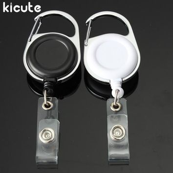 Kicute New Retractable Pull Key Ring ID Badge Lanyard Name Tag Card Holder Recoil Reel Belt Clip Metal Housing Plastic Covers