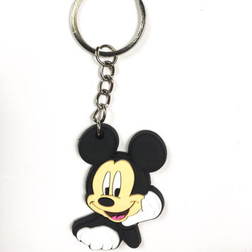 Mickey keychain keyring key holder key accessories key fob Cartoon pvc pendant Kids Birthday Gift