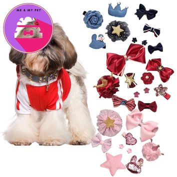 9pcs/set Pet Dog Hair Bows Ribbon Pet Cat Dog Hair Bows Grooming Dog Hair Accessories Puppy Large Dog Grooming Supply Products