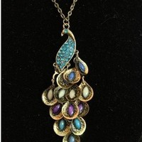 BlueTop(TM) Women Fashion Vintage Blue Rhinestome Crystal Peacock Necklace Pendant Chain Jewelry