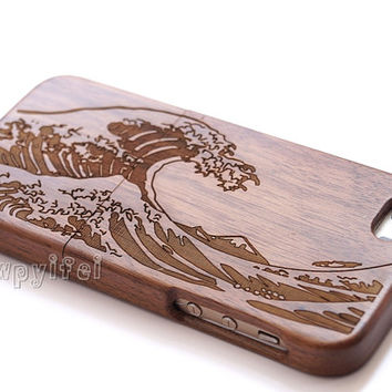 Real wood iPhone 6 Case, Wood iPhone 6 Case,For iPhone 5/5s/5c/4s/6/6 plus Case,Engraving SEA WAVE case,Gift