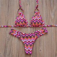 Sexy Printed Women Bikini Ladies Push-up Strappy Backless Low Waist Bikini Set Girls Cutest Swimsuit Swimwear Swimsuit Biquini -Daniel03116