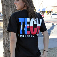 Lubbock, TX TECH Texas Flag on Black Tee