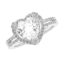 White Topaz and Diamond Heart Ring - Size 6