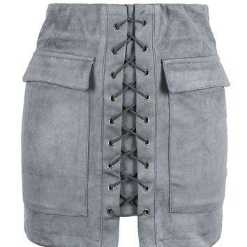 DCCK7XP Grey Faux Suede Lace Up Front Pencil Mini Skirt