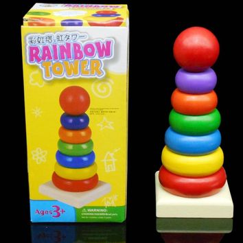 Free children wood small mini tower Rainbow Tower toy rainbow color ring 8 layer building blocks Kids wooden toys