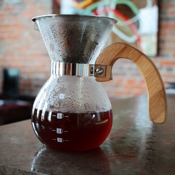 4 Cup Pour Over Blown Glass Coffee Maker With Stainless Steel Filter