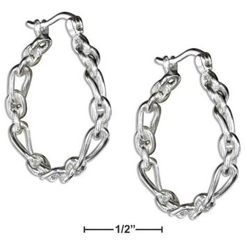 Oval and Cricle Link Hoop Earrings - Sterling Silver